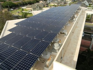 The finished 122-kW array on the Kauhale Makai Condominiums using Sunmodo's SunBeam system.