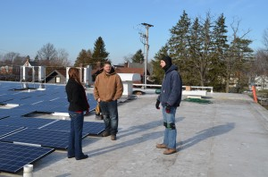 Solar Builder editor Kelly Pickerel talks with Bold Alternatives installers at Baldwin Wallace University.